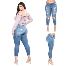 цена на Plug Size Female Fashion Ripped Jeans Summer Casual Women Middle Waist Ripped trousers New Style Stretch Skinny Jeans