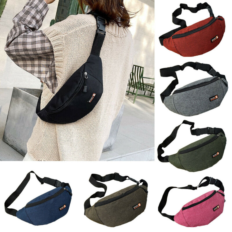 Unisex Waist Bags Fashion Solid Color Large Capacity Waterproof Waist Bags Pouch Zipper Fanny Pack Sports Womens Mens Waist Bags