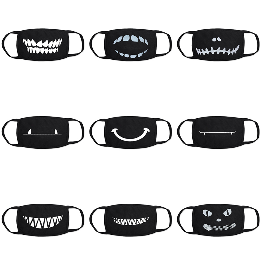 Black Anti Dust Mouth Mask Cute Cartoon Expression Teeth Face Masks Men Women Cotton Washable Fashion Accessories Mascarilla