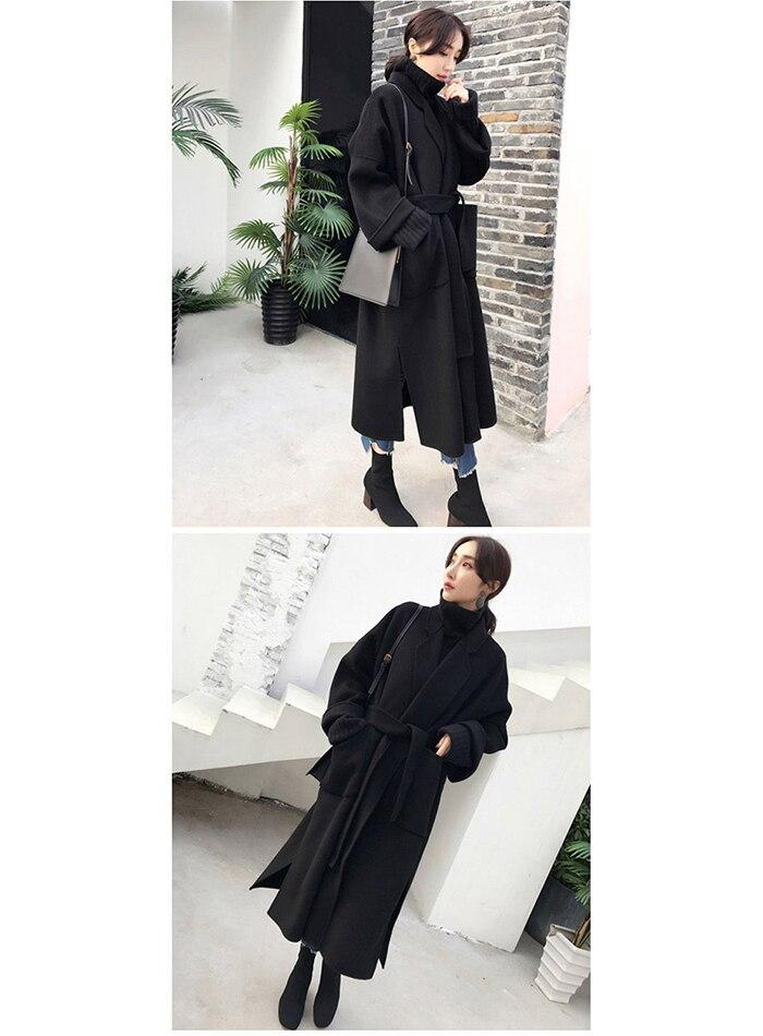 Liva girl Long Coat Winter Coat Women Belted Solid Coat Women's Jacket Women's 5 Colors Coat wool Coat 13