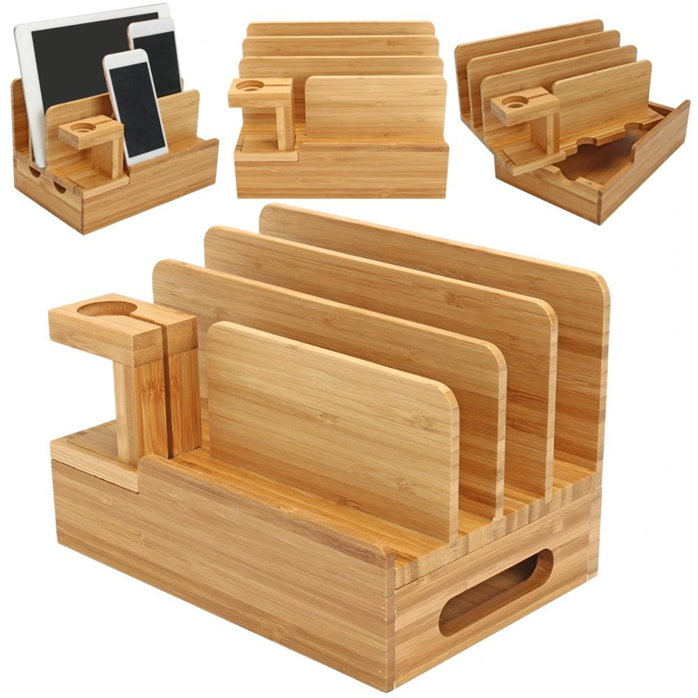 Bamboo Multifunctional Station Dock Stand Holder Universal For Phone Laptop Watch Station Dock Holder Storage Display Stand