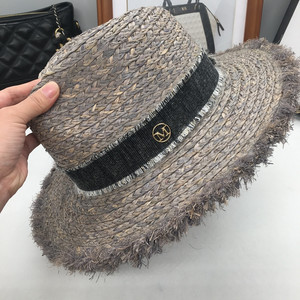 Image 4 - Sir Vacation seaside lafite grass hat sun hat foldable eaves beach cap gray