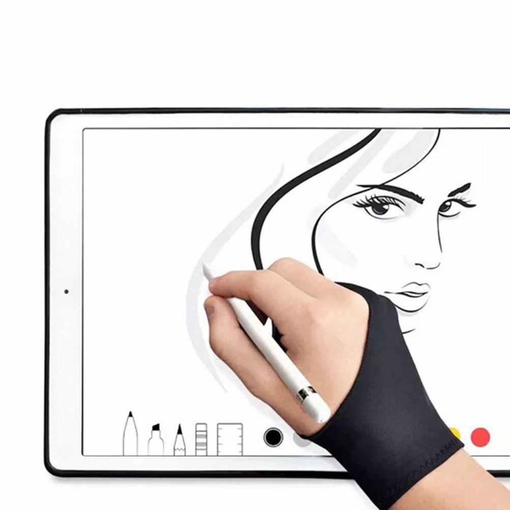 2 dedo luva anti-incrustação, tanto para o desenho do artista da mão direita e esquerda para qualquer tablet de desenho gráfico