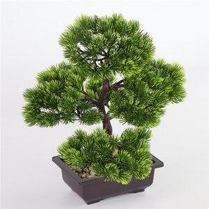 Image 2 - fleurs artificielles Simulation pin aiguilles cyprès plantes bonsaï fausse fleur plantes artificielles pots intérieur maison salon décoration créative