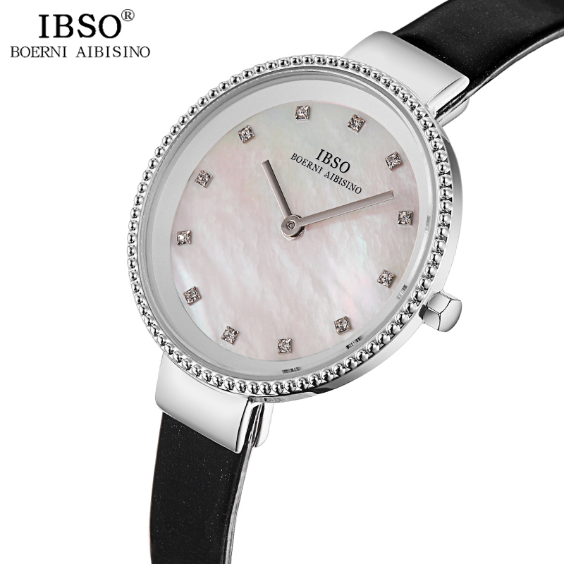 IBSO Women's Quartz Watch Luxury Crystal Rhinestone Clock Hours Simple Montre Femme Ladies Quartz Leather Waterproof Wristwatch