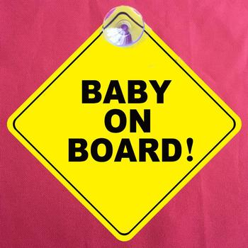 Car Vehicle Window Sucker Sticker Baby On Board Warning Safety Sign Decoration image