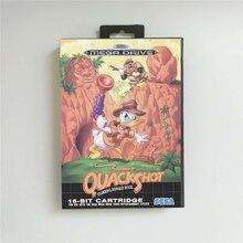 Quackshot estrelado pato donald eur capa com caixa de varejo 16 bit cartão de jogo md para megadrive genesis console de jogos de vídeo