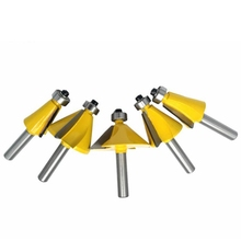 5Pcs/Set 8Mm Shank Chamfer Router Bit 11.25 15 22.5 30 45 Degree Milling Cutter for Wood Woodworking Machine Tools 1 2 shank 45 degree router bit oblique chamfer edge milling cutter knife woodworking cutter wood working cutting hand tool