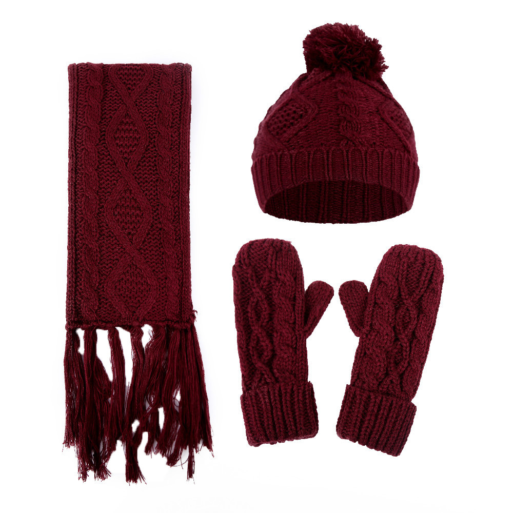 Hot Sale Women Crochet Hat 2019 Fur Woolen Knit Thick Cable Knitted Caps+Scarf+Gloves Suit Winter Hat