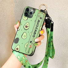 Telefon Halter Fall Für iphone XR X Xs max 11 Pro Max 7 8 6 6s plus Obst Avocado weiche TPU Neck Wrist Strap Lanyard Fall(China)