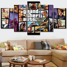 Decor Living Room Or Bedroom Wall Framework Paintings 5 Pieces Game Grand Theft Auto V Role Poster Canvas Art HD Prints Picture