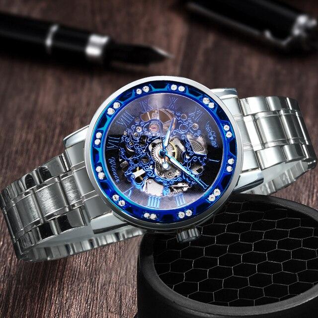 الفائز الهيكل العظمي الميكانيكية الرجال الذهبي ساعة فضية العلامة التجارية الفاخرة مثلج خارج كريستال موضة الشرير الصلب ساعة اليد دروبشيبينغ 4