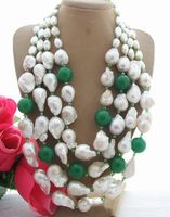 26mm White Keshi Pearl Green J1ade Crystal Necklace 19