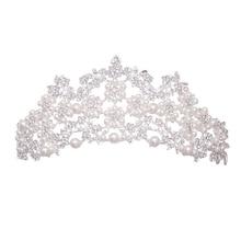 Tocado de novia Vintage princesa corona accesorios para el cabello de boda perla Rhinestone nupcial corbata de pelo