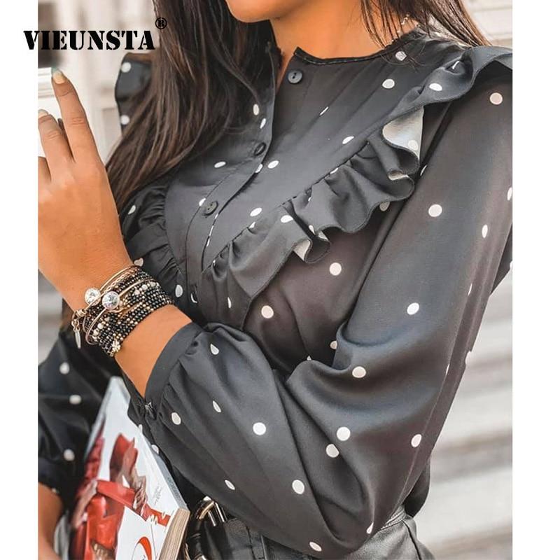 2020 Spring Polka Dot Ruffle Blouse Shirt Elegant Fashion O Neck Buttons Streetwear Tops Lady Autumn Long Sleeve Pullover Women