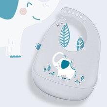 Силиконовые непромокаемые детские нагрудники для кормления, мягкая регулируемая детская одежда, бандана, нагрудник с милым Рисунком Слона