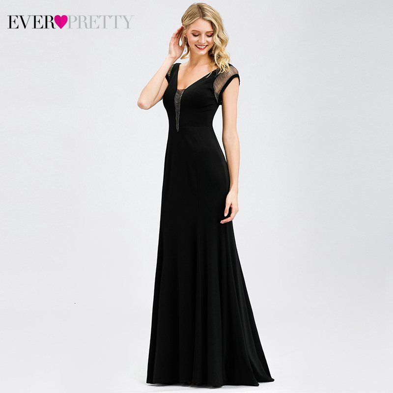 Image 4 - Ever Pretty Black Evening Dress A Line V Neck Short Sleeve Elegant Cheap Little Mermaid Party Gowns EP07036BK Robe De Soiree-in Evening Dresses from Weddings & Events