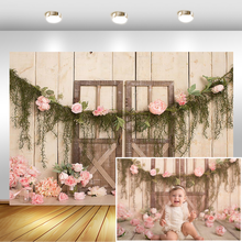 blue dot light bokeh wooden board baby portrait photography background customized vinyl photographic backdrops for photo studio Pink Flower Newborn Baby Photography Backdrops Floral Wooden Door Photographic Studio Photo Background Birthday Decorations Prop
