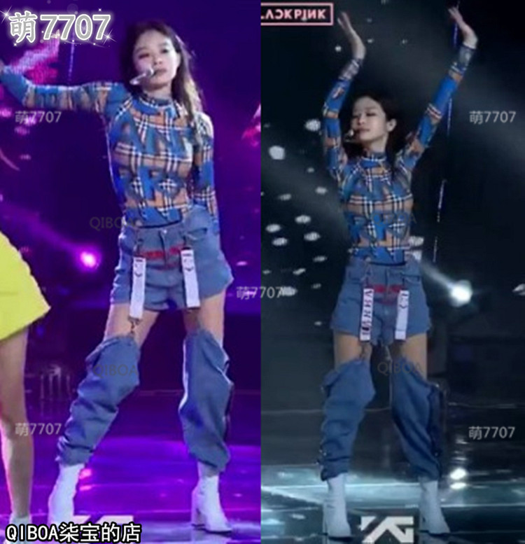 Kpop Blackpink JENNIE Stage Show Same Blue Sexy Hollow High Waist Jeans Women Night Club Metal Buckle Splice Trousers Lady Pants
