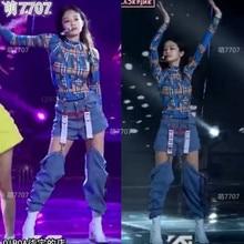 kpop Blackpink JENNIE stage show same blue sexy hollow High waist Jeans women Ni
