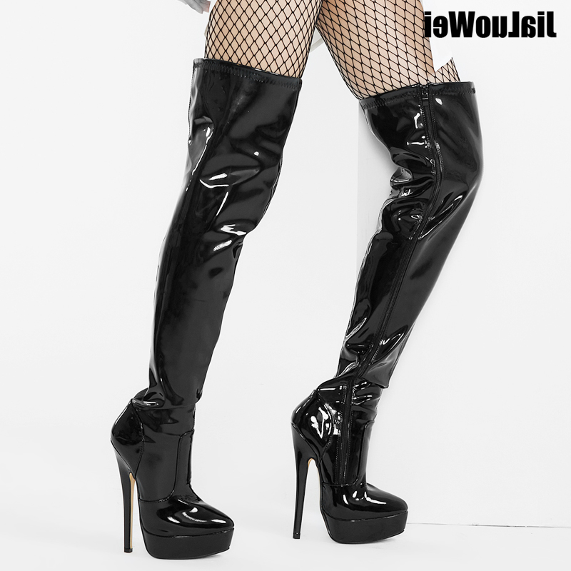 Womens PU Leather Sexy Fashion Over the Knee Boots Sexy 7 inch Ultra High Heel Boots Platform Ladies Boots size36-46