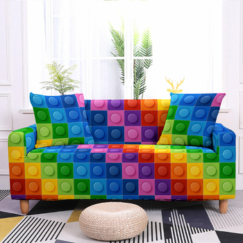 Colorful Block Pattern Elastic Slipcovers Sofa Universal Sofa Cover Stretch Sectional Couch Cover Sofa Cover For Living Room 8