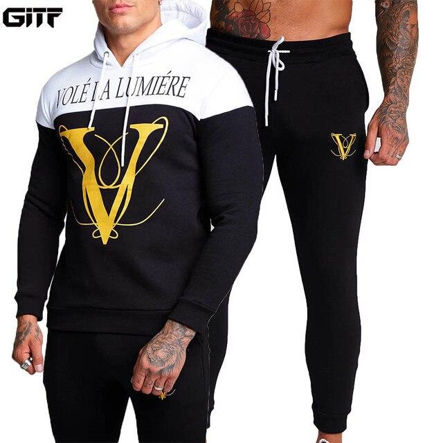 GITF наборы мужской спортивный костюм для фитнеса Мужская одежда для бега спортивная одежда упражнения тренировка мужские наборы
