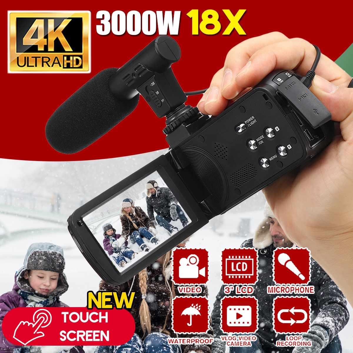 30 мп, профессиональная видеокамера 4K HD, видеокамера, ночное видение, 3,0 дюймов, HD сенсорный экран, камера с 18X цифровым зумом, камера с микрофо...