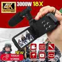 30 MP profesional 4K HD videocámara visión nocturna 3,0 pulgadas HD pantalla táctil Cámara 18X Zoom Digital cámara con micrófono