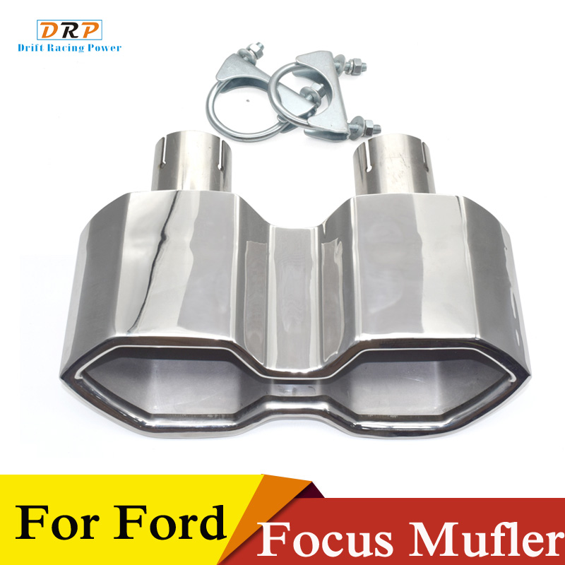 1 pcs stainless steel car rear exhaust muffler tip tailpipe for ford focus st 2017 middle outlet exhaust