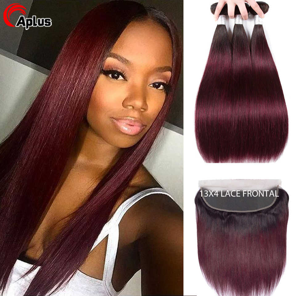 Aplus Peruvian Straight Ombre Bundles With PrePlucked Frontal Closure 1b/99J Two Tone Dark Wine Red Remy Human Hair