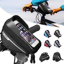 B-SOUL rowerowe torby rowerowe MTB główka ramy kierownica ekran dotykowy przeciwdeszczowy górny worek rurkowy torba na telefon komórkowy pojemnik do przechowywania akcesoria rowerowe tanie tanio CN (pochodzenie) Z poliestru odporne na deszcz 5245320 100g red gray black blue Dropshipping wholesale Free rain cover Touch Screen