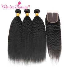 Kinky STRAIGHT Hair Bundle ปิดผมบราซิลสาน Bundlles Wonder Beauty Human Hair Bundles with Non Remy