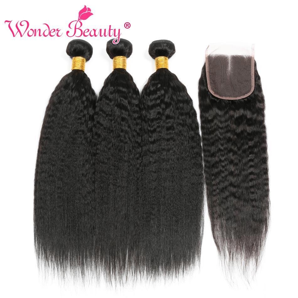 Kinky Straight Hair Bundle With Closure Brazilian Hair Weave Bundlles Wonder Beauty Human Hair Bundles With Closure Non-Remy