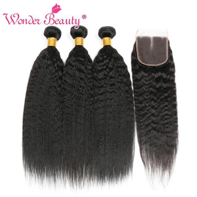 Kinky Straight Hair Bundle With Closure Brazilian Hair Weave Bundlles Wonder Beauty Human Hair Bundles with Closure Non Remy