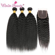Perwersyjne proste wiązki włosów z zamknięciem brazylijskie włosy wyplata Bundlles Wonder piękne ludzkie włosy wiązki z zamknięciem nie Remy