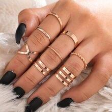 Женские кольца из сплава в стиле ретро модные гладкого золотого