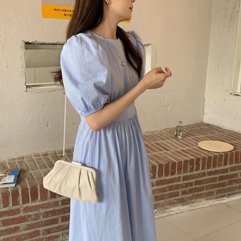H671a5c94eb06405688226ce3896f3f358 - Summer O-Neck Short Sleeves Elastic-Waist Calf Length Solid Dress