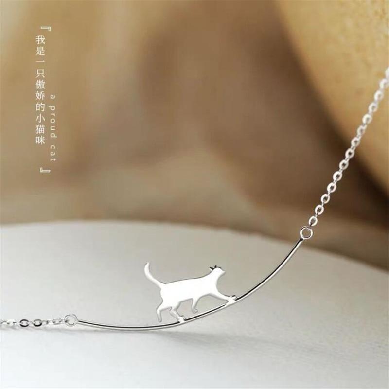 Neue Mode Katze Gebogene Einfache Persönlichkeit 925 Sterling Silber Schmuck Nette Tier Walking Katze Schlüsselbein Kette Halsketten N090