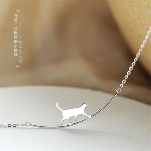 New Fashion Cat Curved Simple Personality 925 Sterling Silver Jewelry Cute Animal Walking Cat Clavicle Chain Necklaces H90