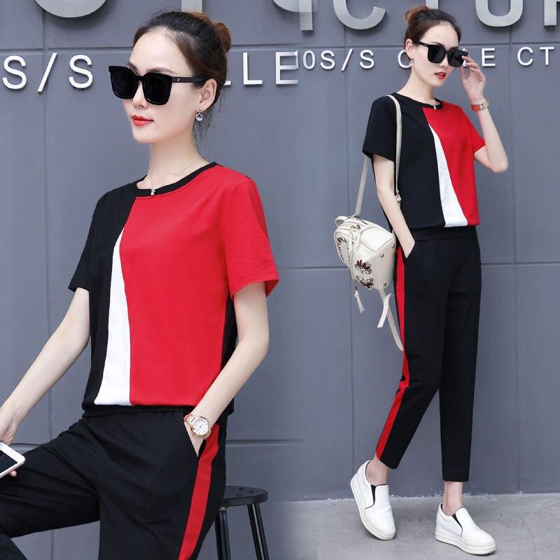 Summer Sports Clothing WOMEN'S Suit Two-Piece Set Western Style Korean-style Loose Tops 2020 Capri Pants Set