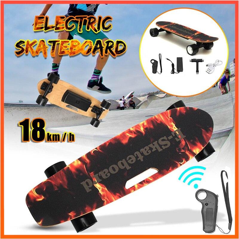 Электрический скейтборд 250 Вт 18 км/ч скейтборд клен палуба беспроводной пульт дистанционного управления четыре колеса Электрический