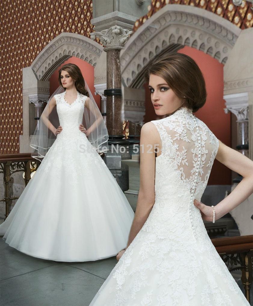 Best Selling Vestido De Noiva Robe De Mariee 2018 A Line V Neck Wedding Dresses Lace Applique Organza Sweep Train Bridal Gowns