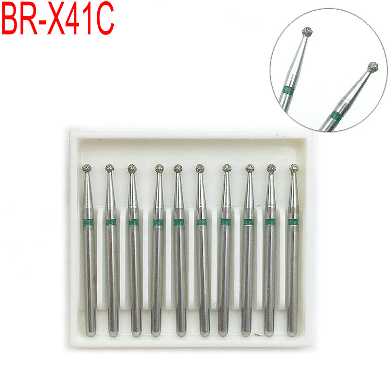10pcs Dental High Speed Burs High Speed Handpiece Turbine Diamond Burs Diamond Polishing Tooth Preparation Burs BR-X41C