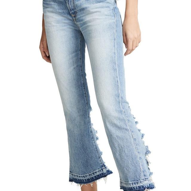 Summer spring show Zhao Wei star same Jeans Blue back leg wear micro speaker cropped pants slim
