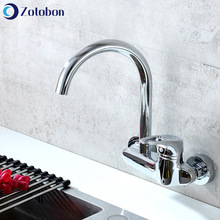 Basin Faucet Bend Kitchen Wall-Mounted Hot-Taps Brass Cold ZOTOBON And F243 Double-Hole