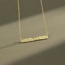 Minimalist 925 Sterling Silver Geometric Rectangular Pendant Necklace Women, Irregular Surface Necklaces for Woman Fine Jewelry real 925 sterling silver alphabet o zircon pendant necklaces for women cz geometric wedding fine jewelry