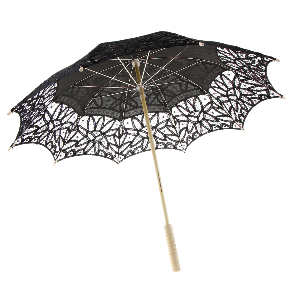 Handmade Cotton Lace Embroidered Parasol Umbrella Wedding Shower Decor Black