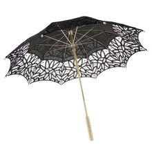 Sombrilla bordada de encaje de algodón hecha a mano, sombrilla para decoración de ducha de boda, negro