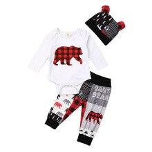 Рождественский комплект одежды из 3 предметов для новорожденных мальчиков и девочек, комбинезон с принтом медведя, штаны, шапочка, милые наряды